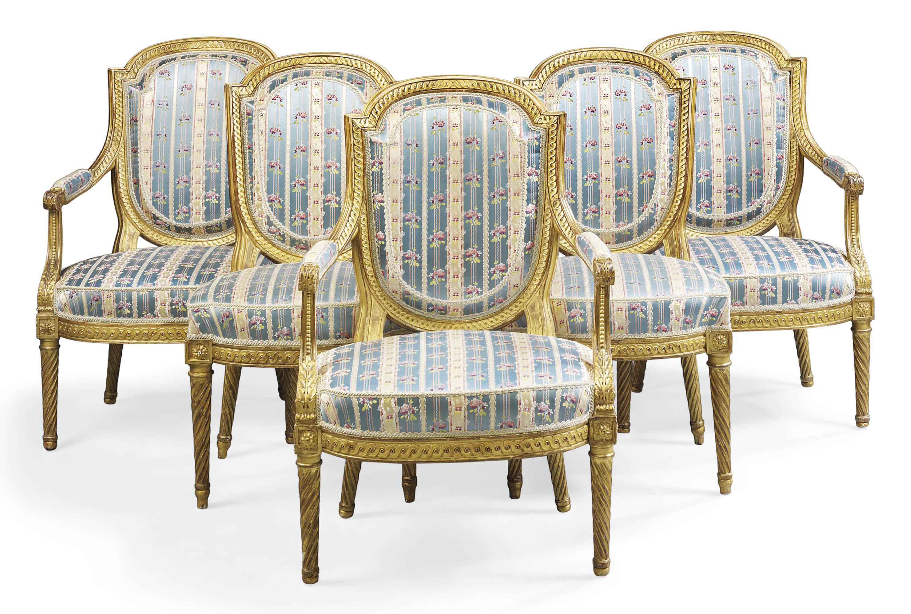 A SET OF THREE LOUIS XVI GILTWOOD FAUTEUILS WITH TWO SIDE CHAIRS
