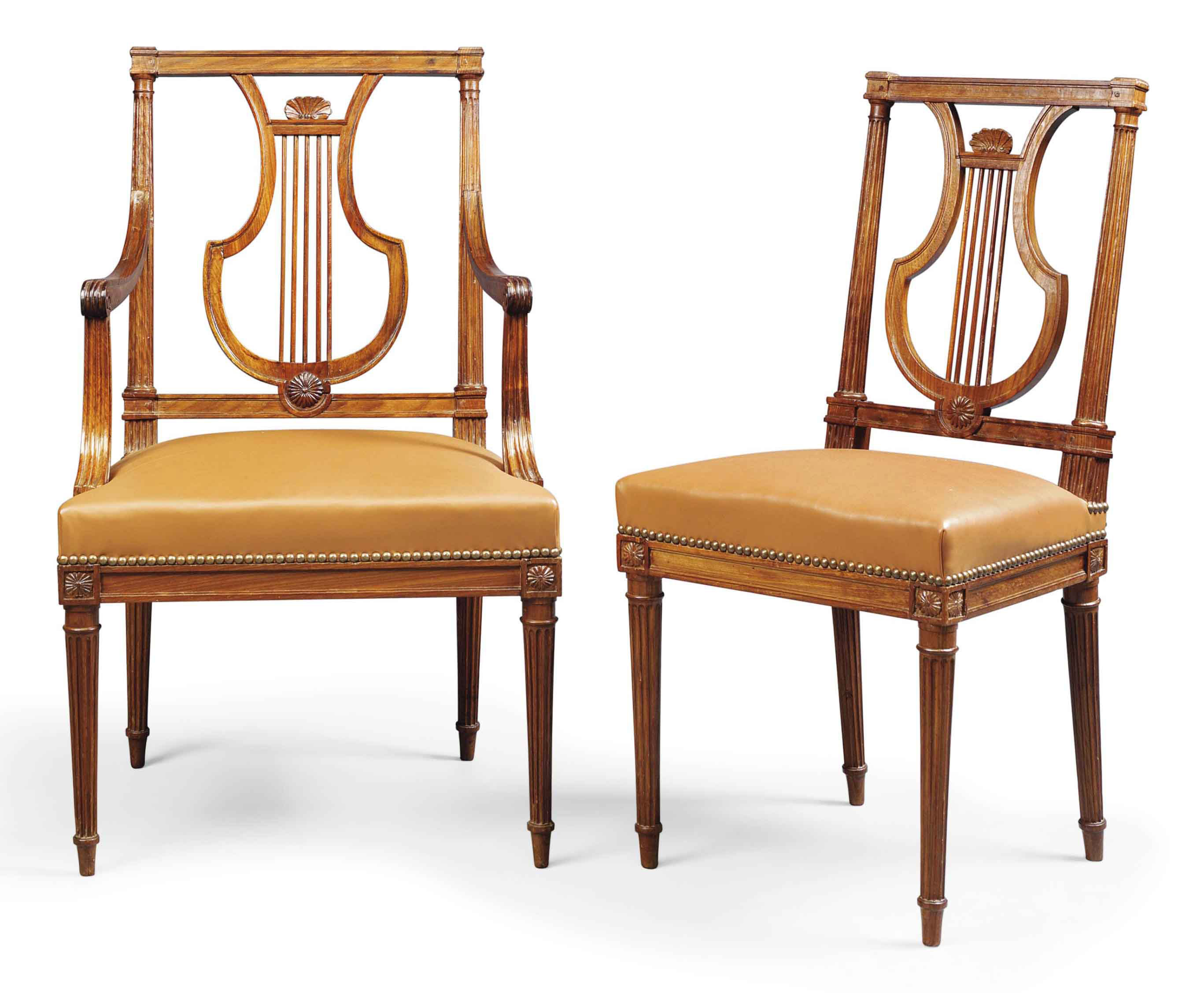 A SET OF TEN LOUIS XVI MAHOGANY DINING-CHAIRS