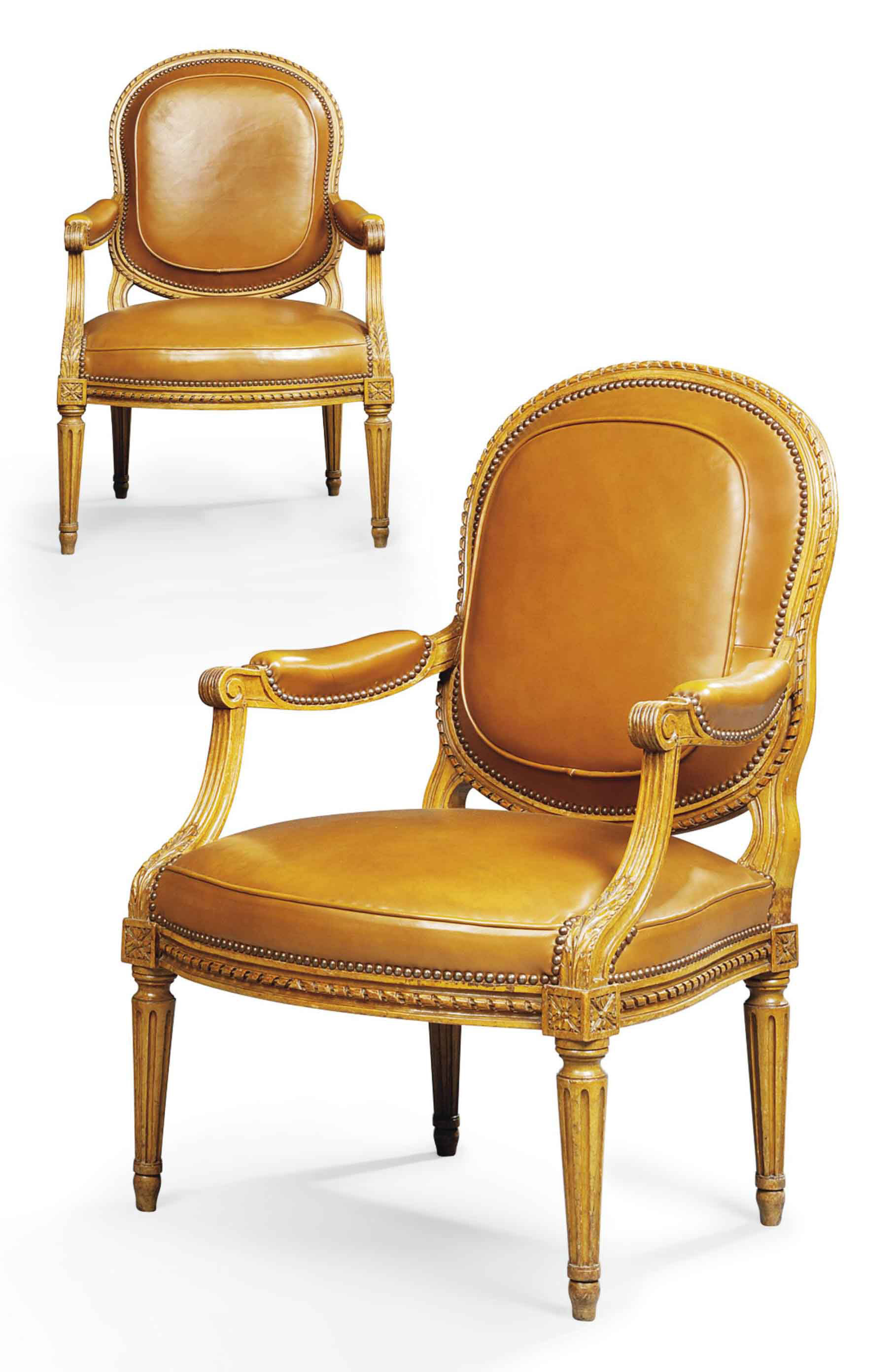 A PAIR OF LATE LOUIS XV BEECHWOOD FAUTEUILS