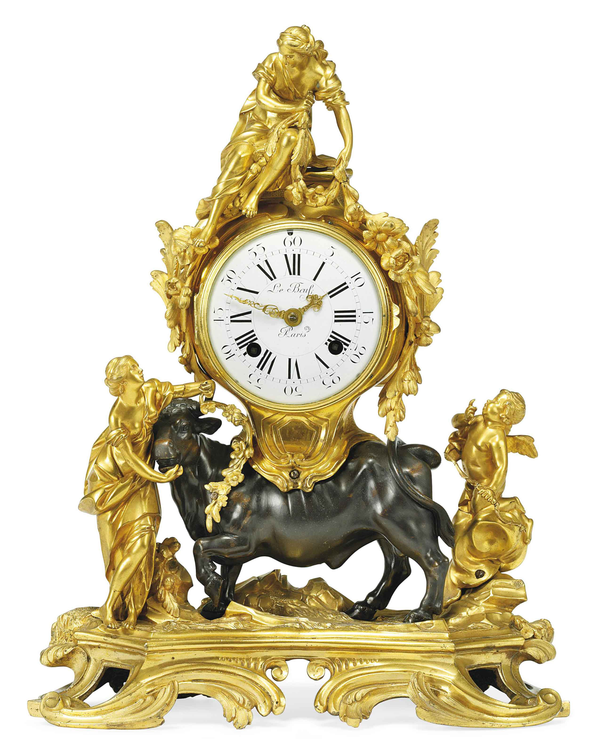 A FRENCH ORMOLU AND PATINATED-BRONZE MANTEL CLOCK: THE RAPE OF EUROPA