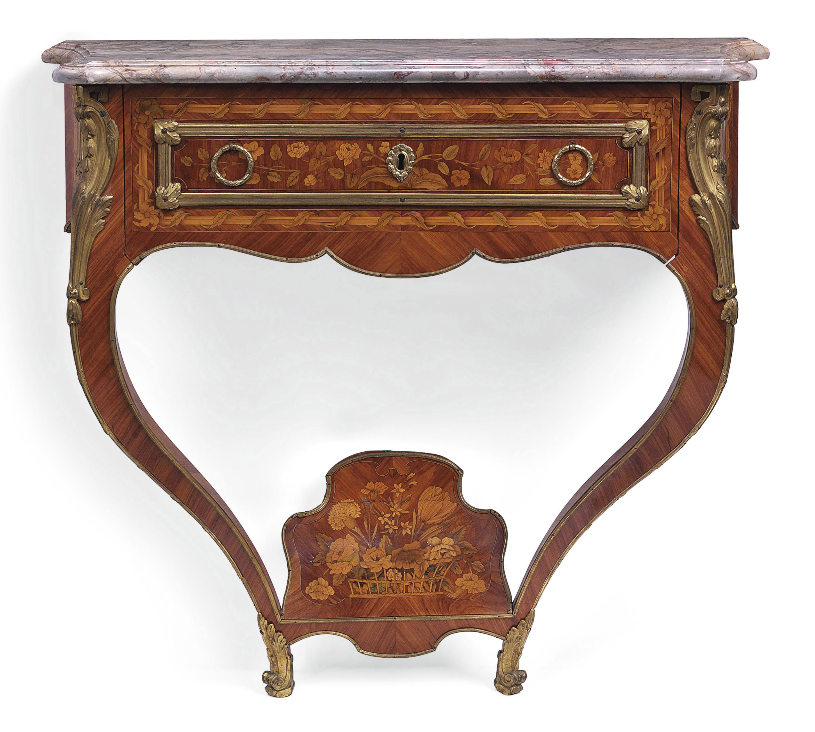 A LOUIS XV ORMOLU-MOUNTED TULIPWOOD AND FLORAL MARQUETRY CONSOLE TABLE