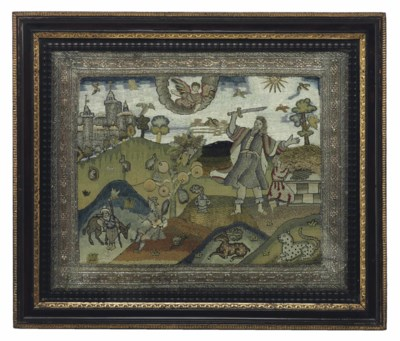 A CHARLES I EMBROIDERED PICTUR
