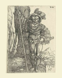 Foot-Soldier standing by a Tree (B. 203, P., Holl. 206)