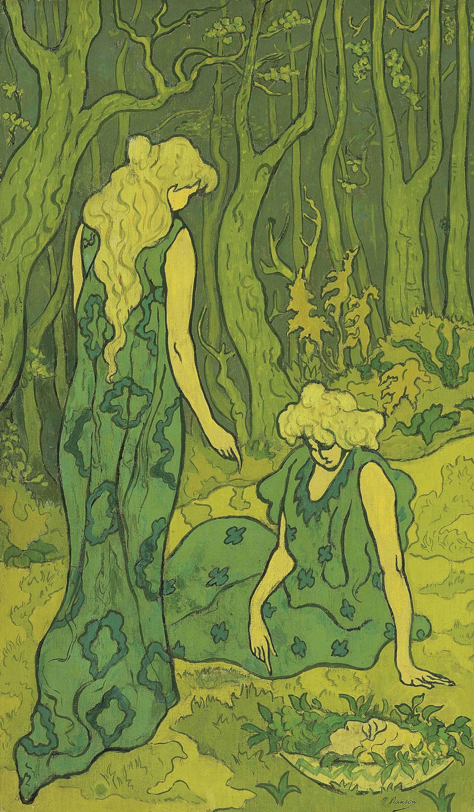 Deux jeunes filles devant la tête d'Orphée or Femmes dans la forêt or Symphonie de verts