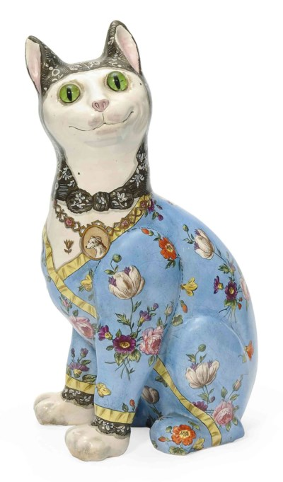 A FAÏENCE MODEL OF A CAT IN TH