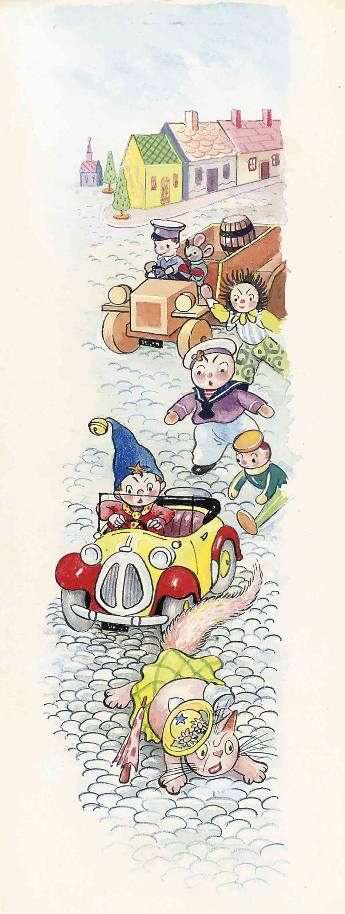 The toy-cat falling out of Noddy's car