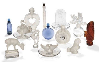 A GROUP OF LALIQUE MOULDED GLA
