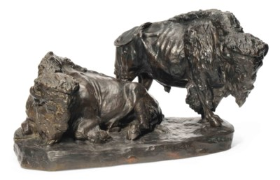 A PATINATED BRONZE 'BISON' GRO