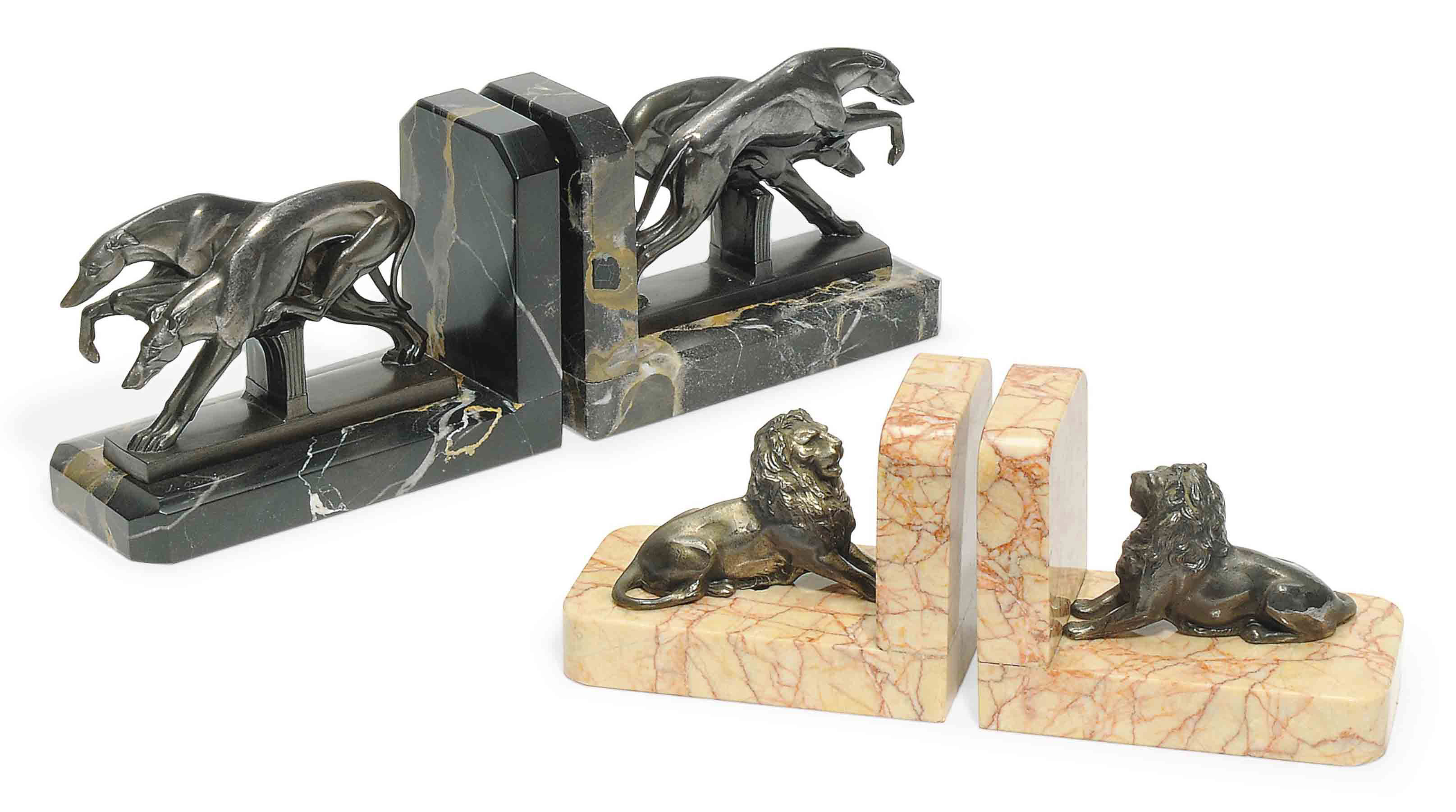 A PAIR OF 'GREYHOUND' BOOKENDS