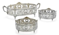 A THREE PIECE GERMAN SILVER TABLE GARNITURE OF EMPIRE STYLE
