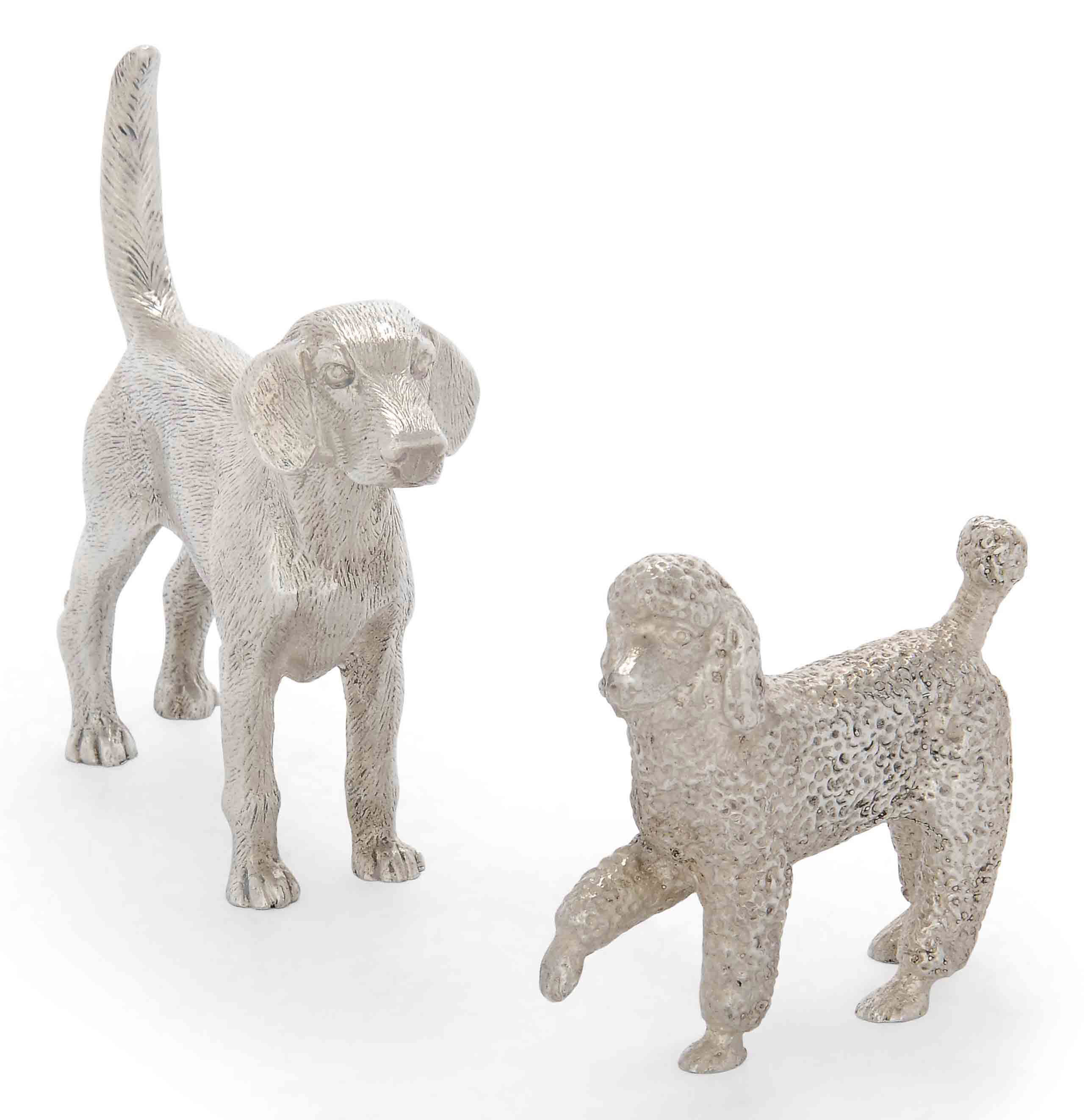 TWO MODERN SILVER MODELS OF DOGS