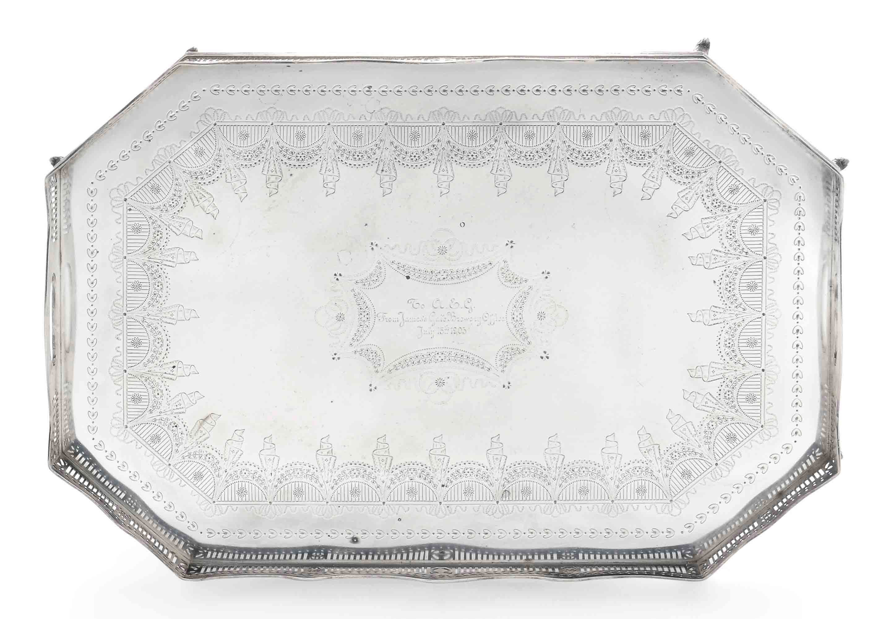 A LATE VICTORIAN SILVER GALLERY TRAY