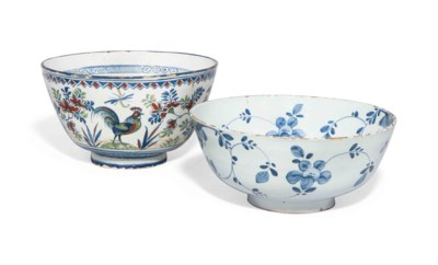 TWO ENGLISH DELFT PUNCH-BOWLS