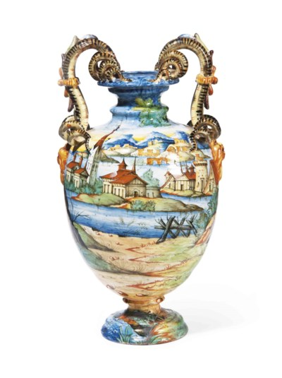 A CANTAGALLI TWO-HANDLED VASE