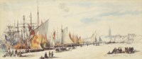 Bragozzi and other shipping moored up on the Riva dei Setriavorni (illustrated); and Bustling activity on the water, Venice