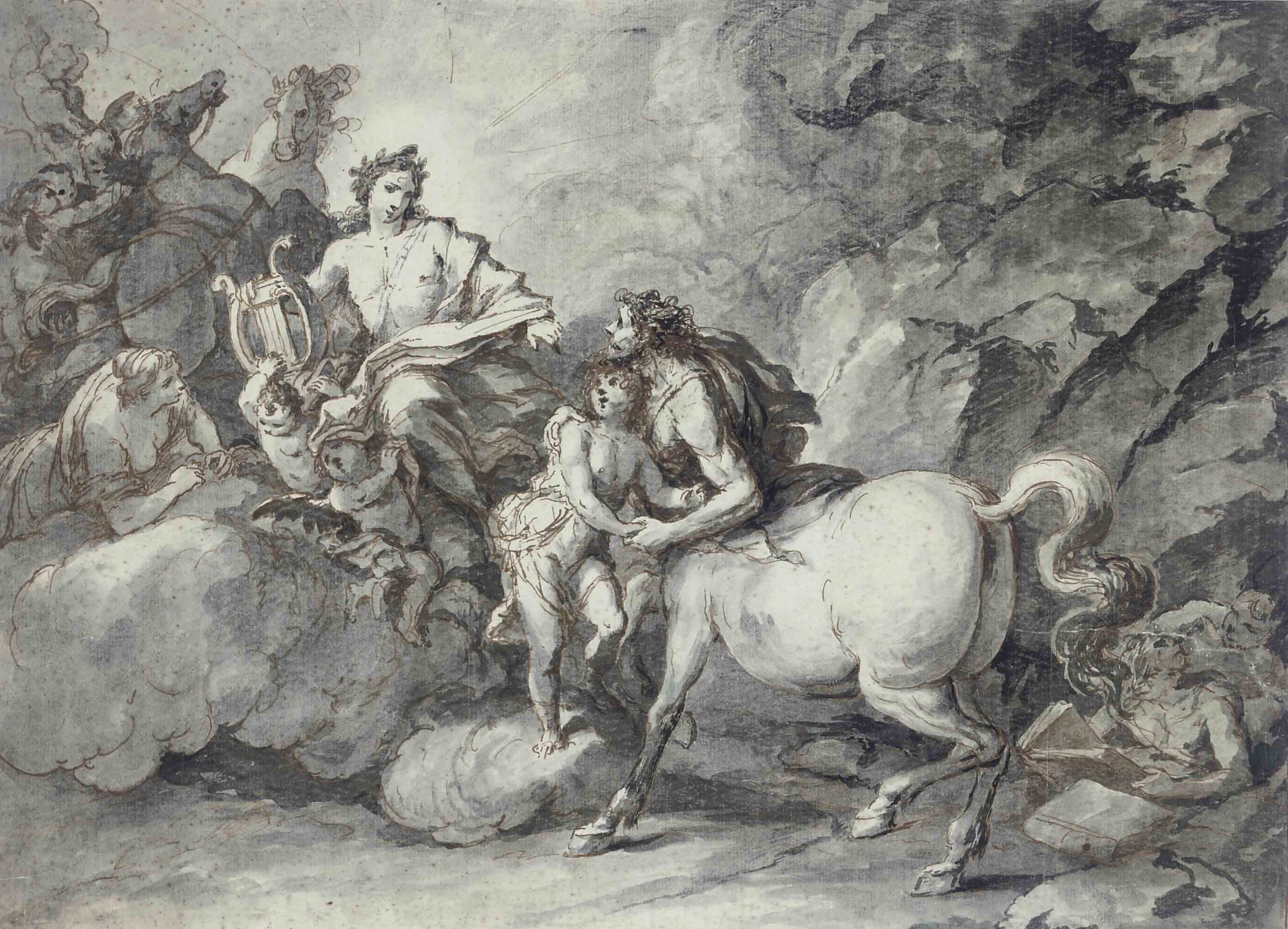 Apollo handing the infant Asklepios to the Centaur for education