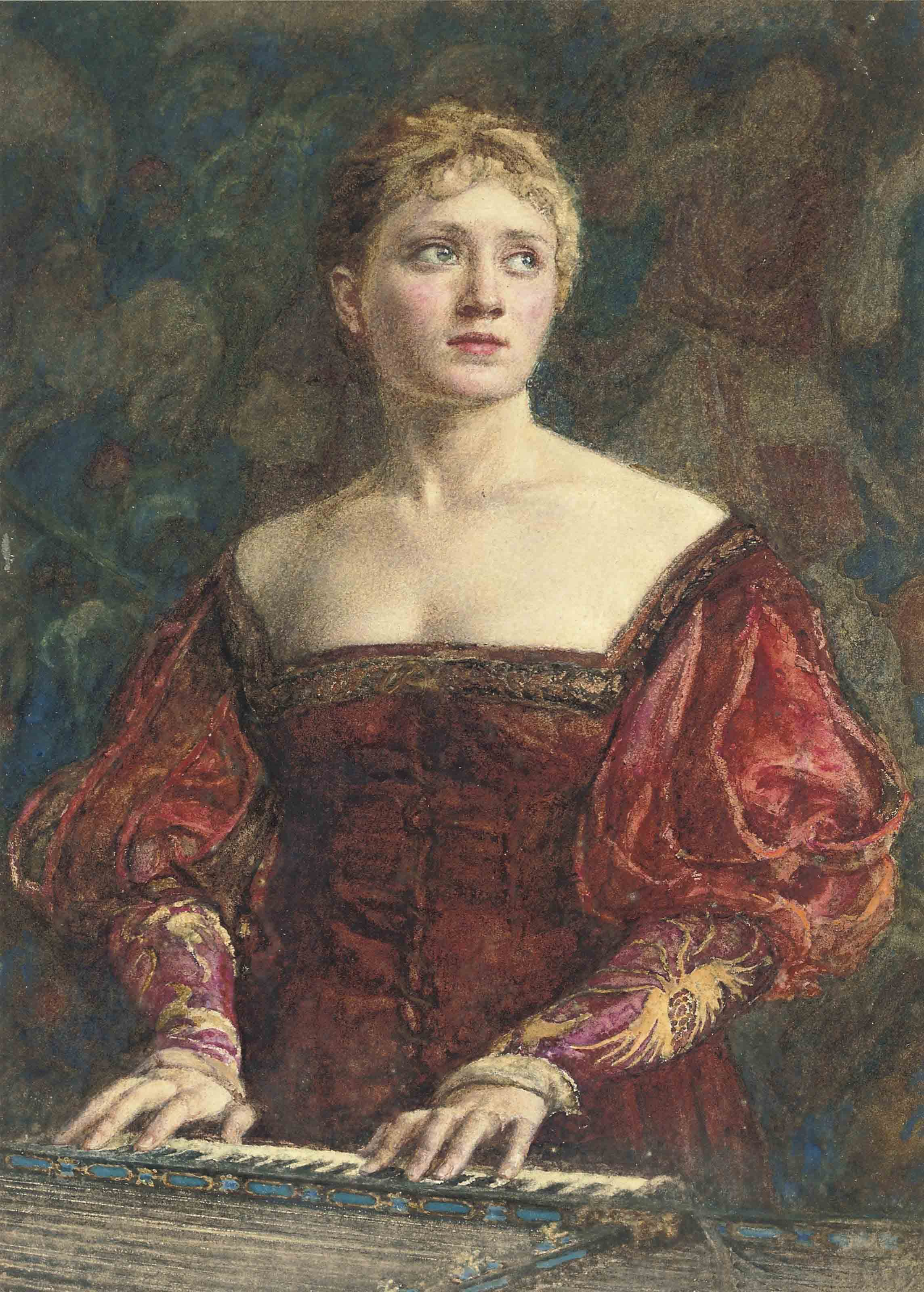 Young lady in Renaissance-style dress at a harpsichord