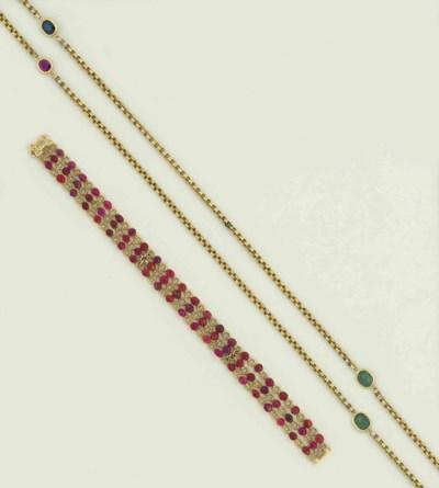 A gem-set guard chain and a ru