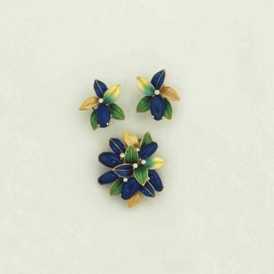 An enamel and diamond earring