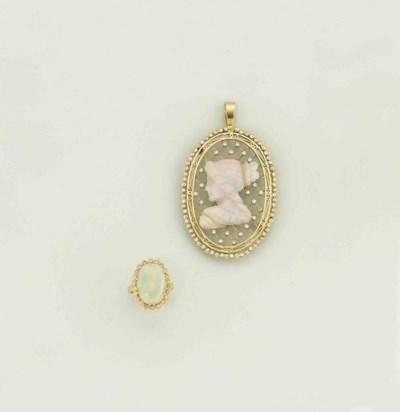 An opal and diamond set brooch