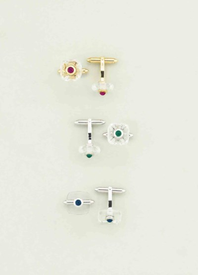 Three pairs of gem-set cufflin