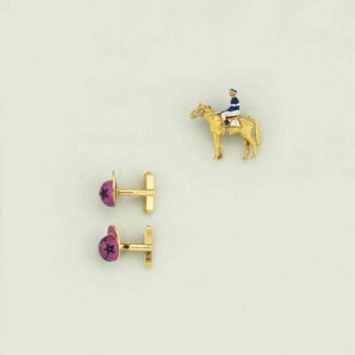 An 18ct. gold horse and jockey