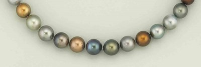 A cultured pearl and coloured