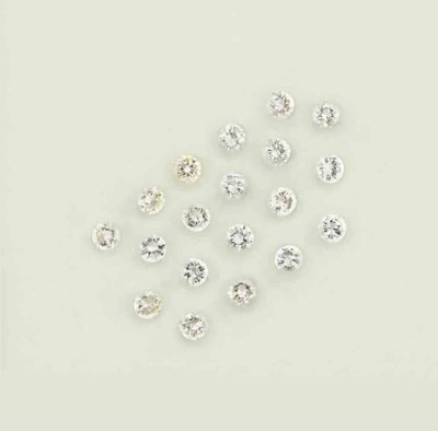 Nineteen unmounted diamonds