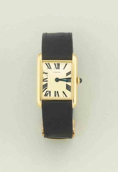 An tank wristwatch, by Cartier