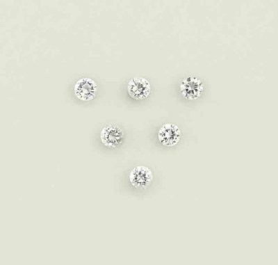 Six unmounted diamonds