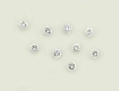 Nine unmounted diamonds