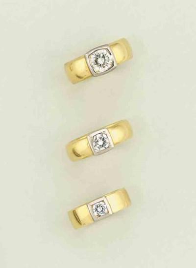 Three diamond single stone rin