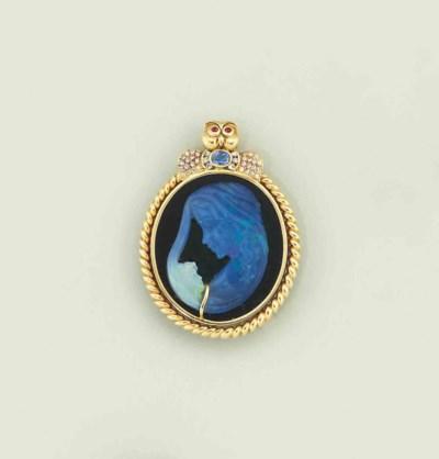 An opal, onyx and diamond-set