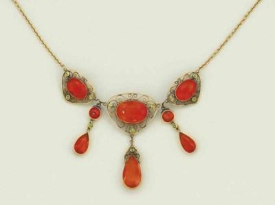 An Edwardian, fire opal and de