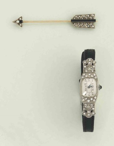 An art deco diamond watch and
