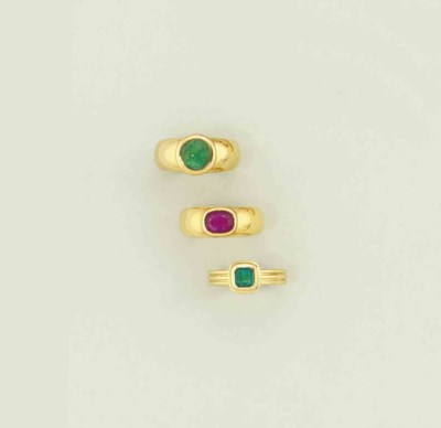 Two emerald rings and a ruby r