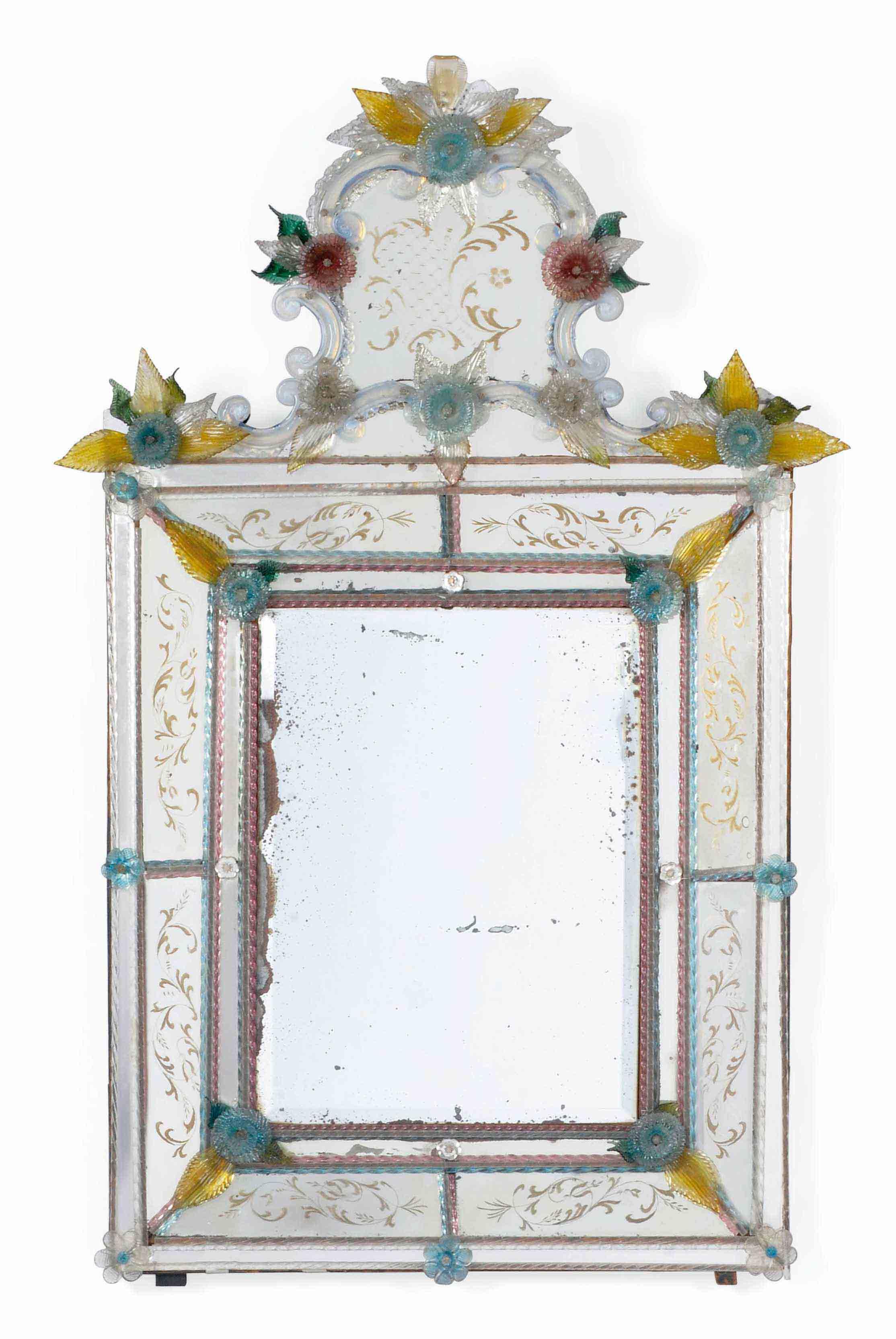 AN ITALIAN COLOURED GLASS MARGINAL MIRROR