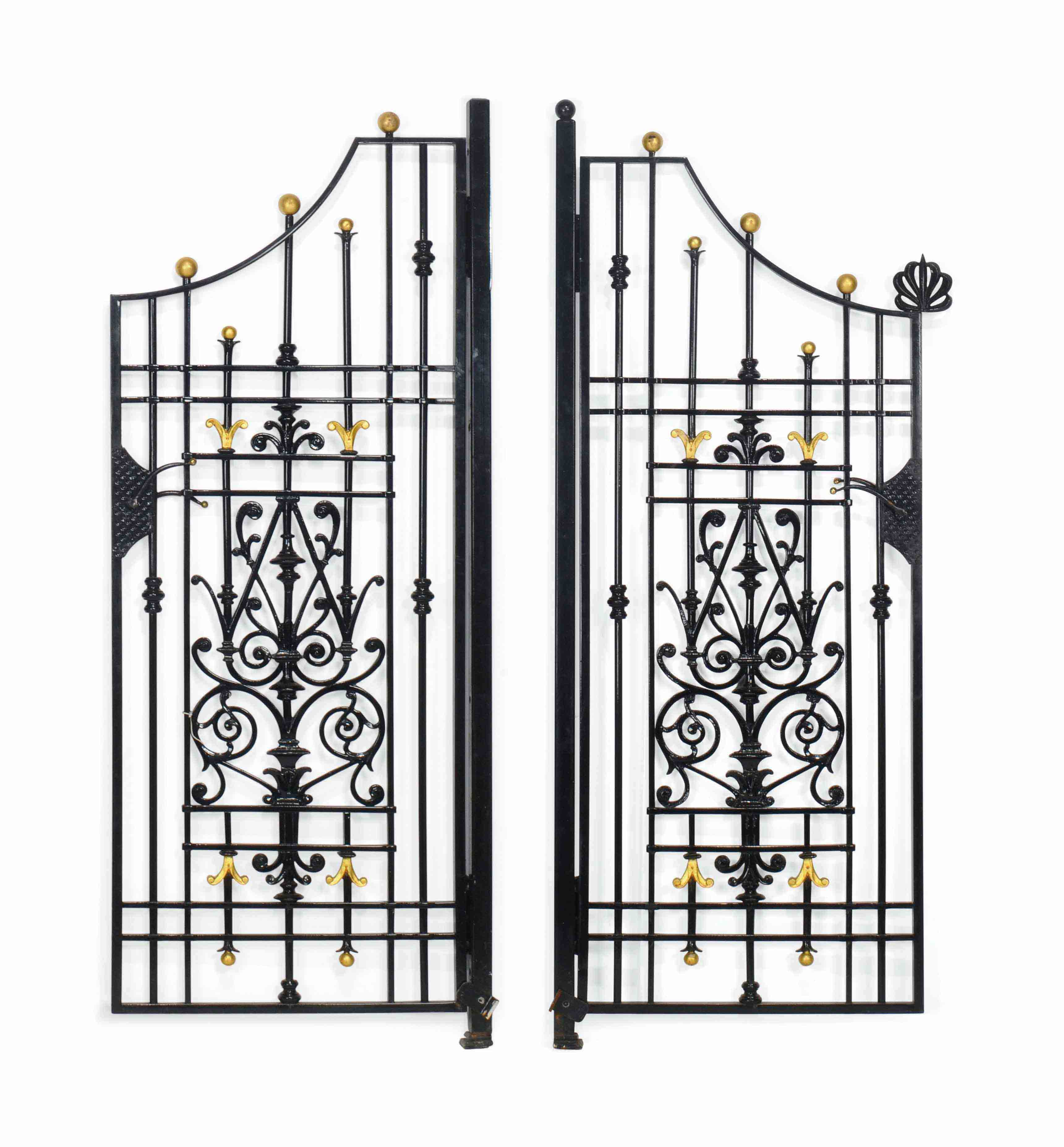 A PAIR OF BLACK-PAINTED CAST-IRON GATES