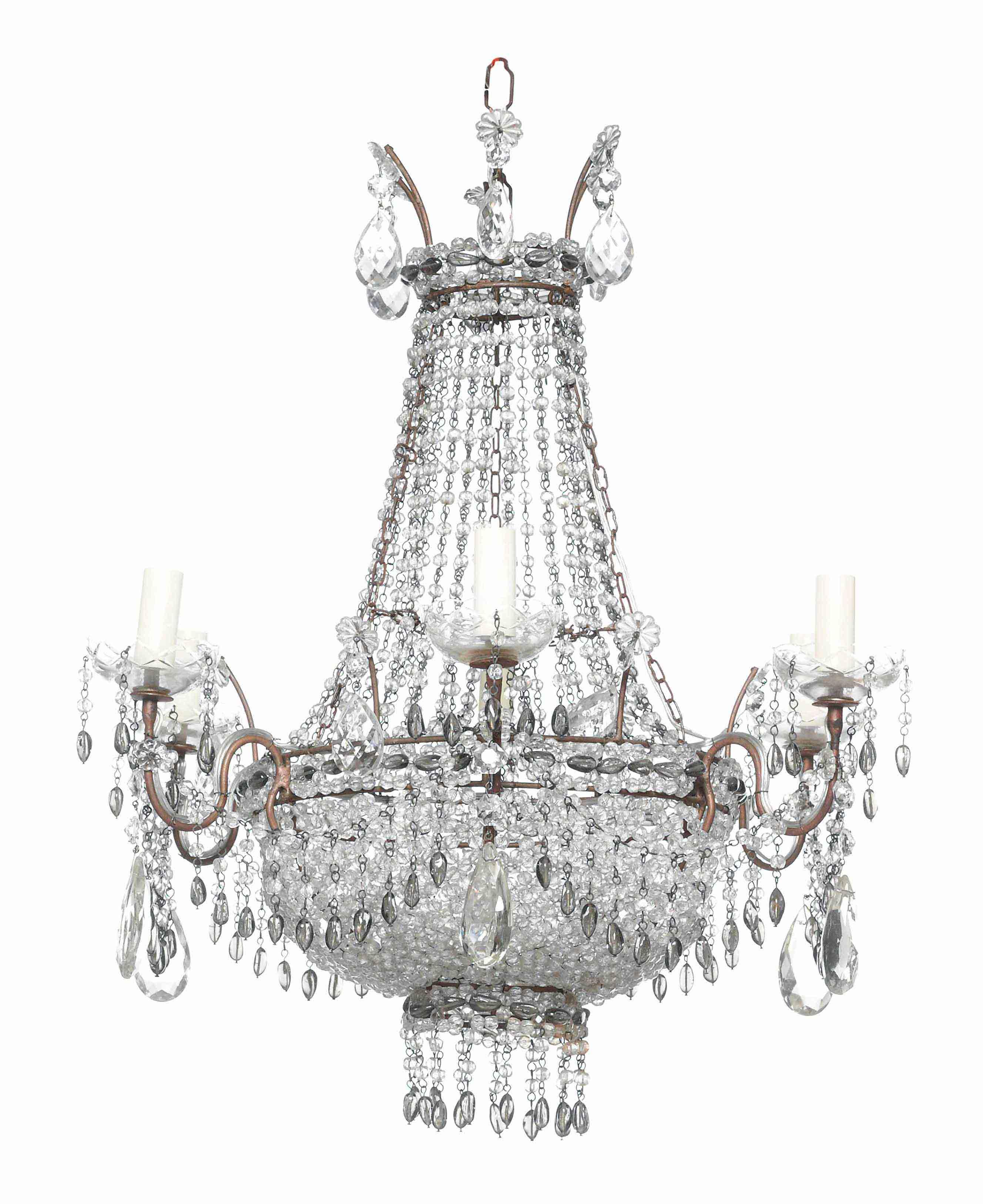 A VENETIAN BEADED-GLASS SIX-LIGHT CHANDELIER