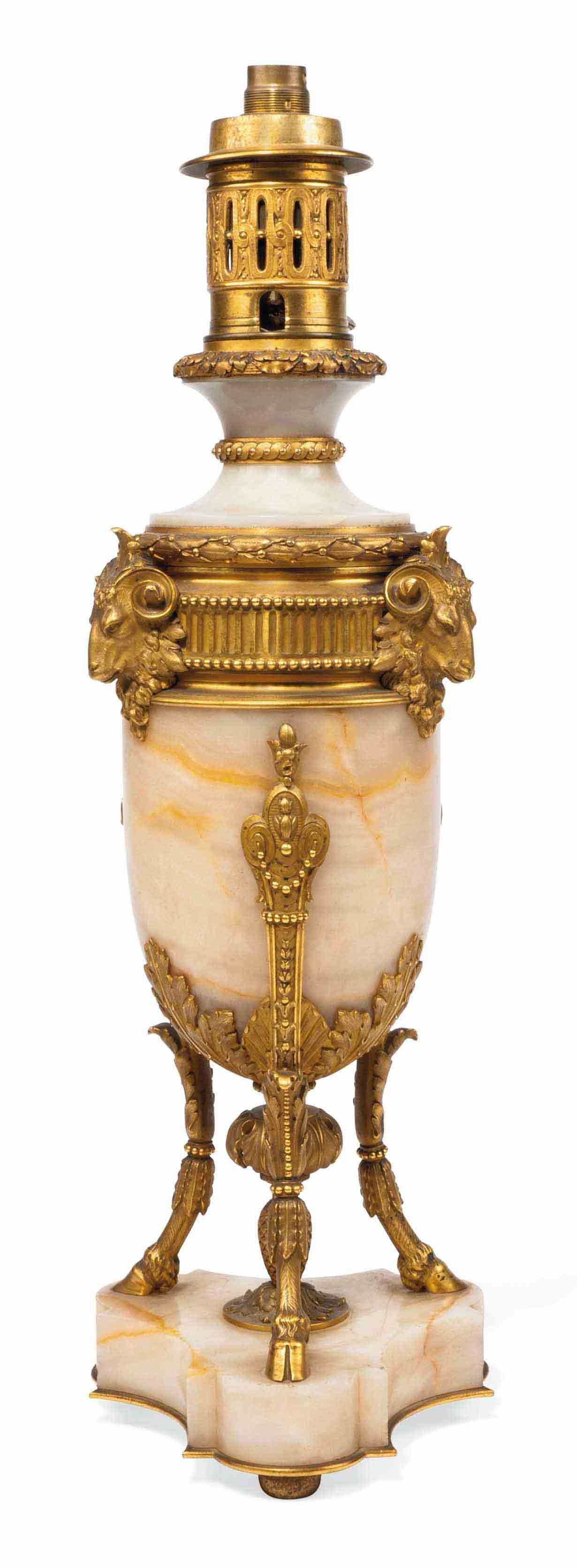 A FRENCH GILT-BRONZE MOUNTED ONYX TABLE LAMP