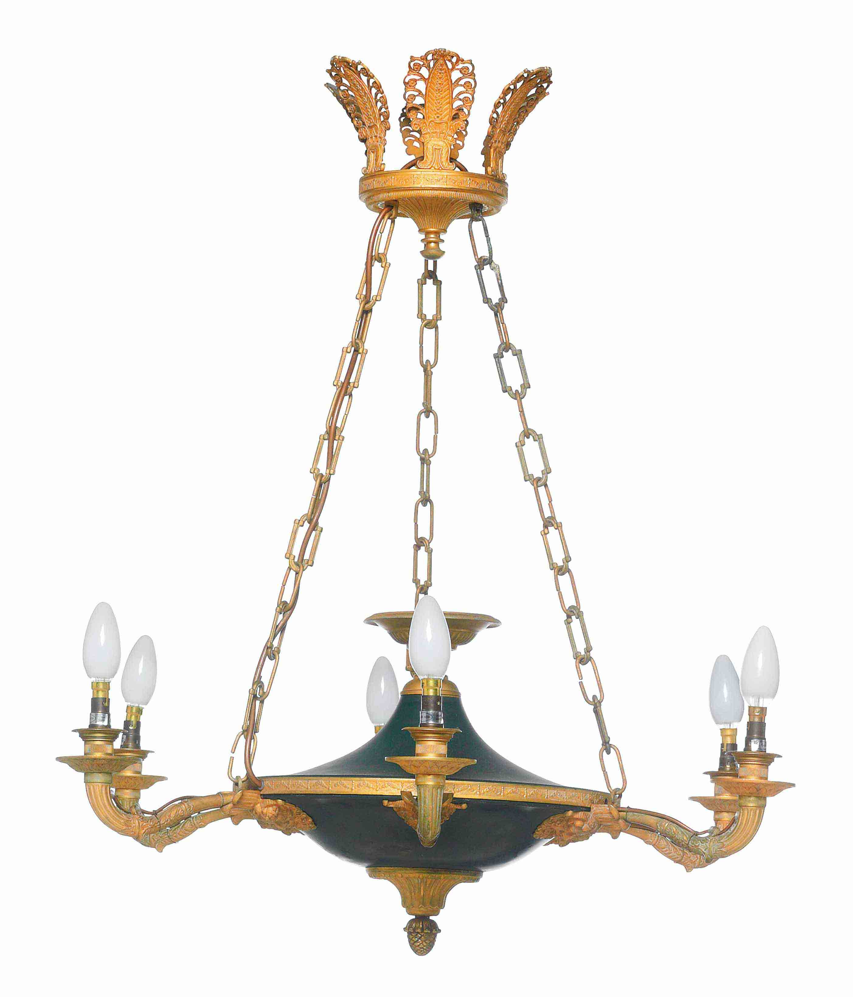 A GILT AND GREEN PATINATED BRONZE SIX-LIGHT CHANDELIER