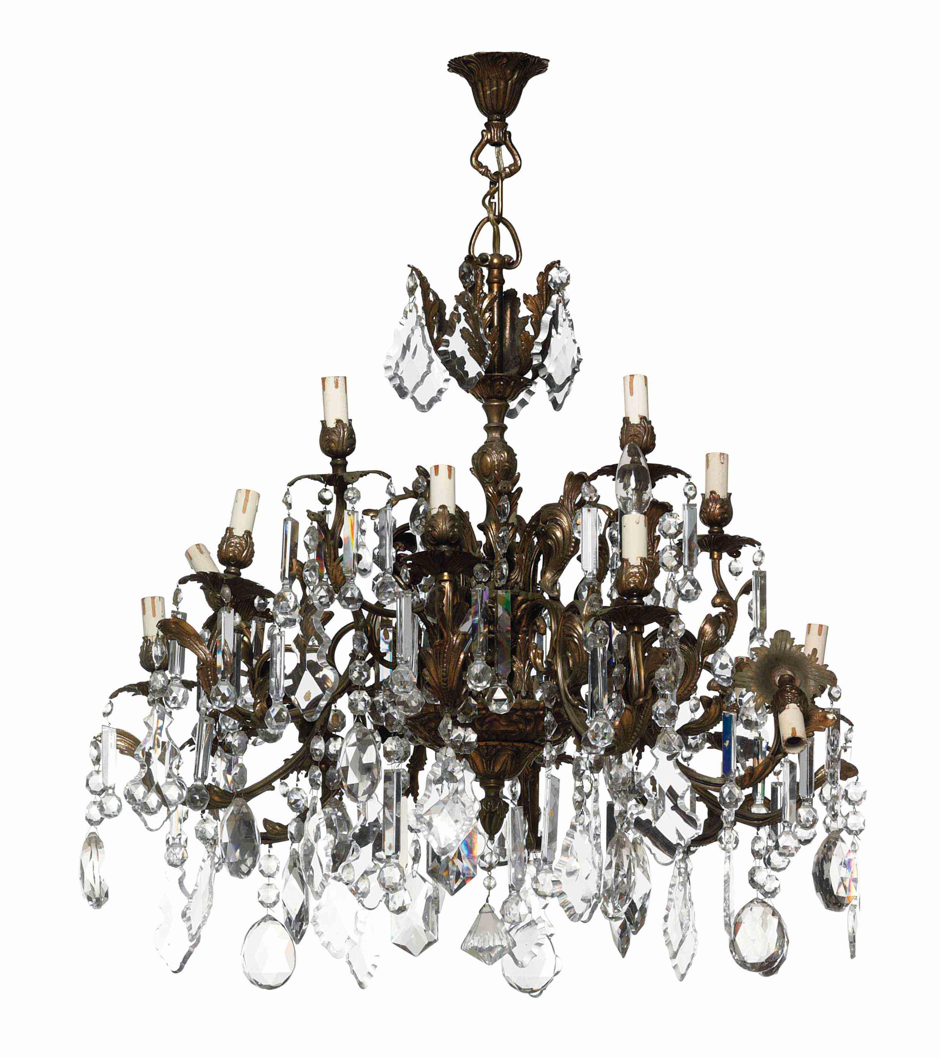 A PAIR OF GILT-METAL AND GLASS FIFTEEN-LIGHT CHANDELIERS