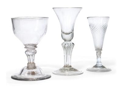 THREE ENGLISH DRINKING GLASSES