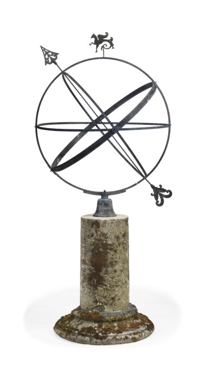 A BRONZE ARMILLARY SPHERE ON L