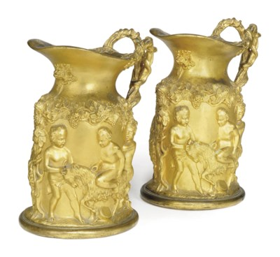 A PAIR OF FRENCH ORMOLU EWERS
