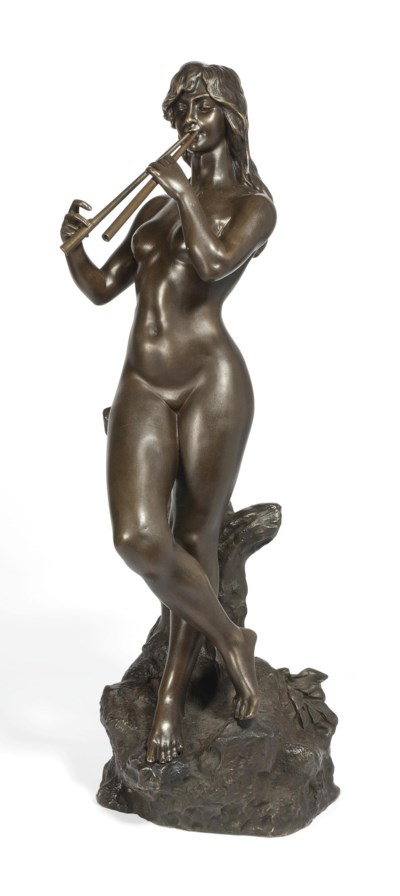 A FRENCH BRONZE NUDE FEMALE PI