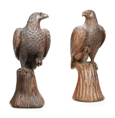 A PAIR OF CARVED HARDWOOD EAGL