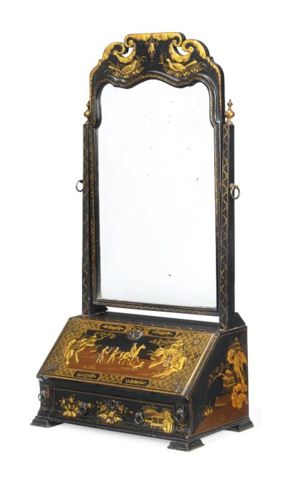 A BLACK JAPANNED AND GILT TOIL