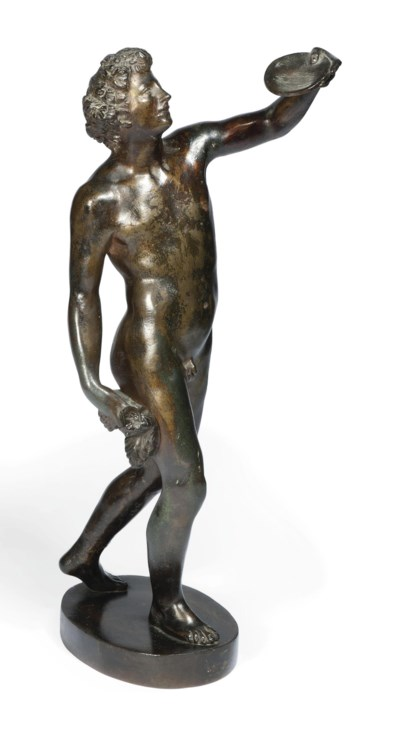 A BRONZE FIGURE OF BACCHUS