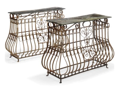 A PAIR OF PAINTED WROUGHT IRON